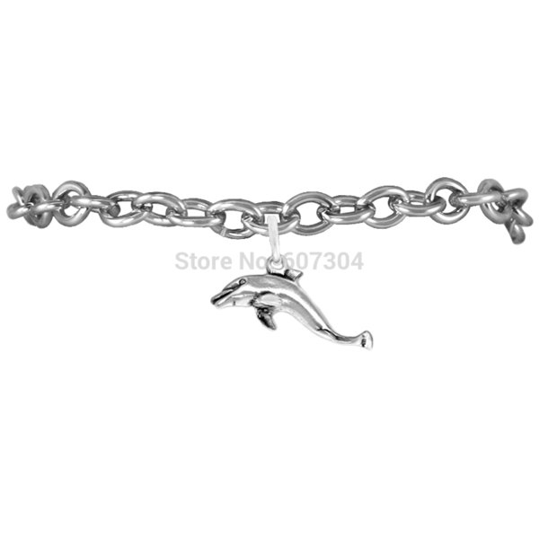 10Pcs/Lot Zinc Alloy Antique Silver Plated Sea Animal Sreies Dolphin Charm Bracelet Jewelry Made In China Ourself Factory