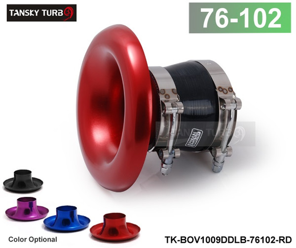 """best selling TANSKY - ALUMINUM RED Inlet 4"""" 102MM AIR INTAKE VELOCITY STACK TURBO HORN ADAPTER+SILICONE HOSE+CLAMP TK-BOV1009DDLB-76102(default is red)"""