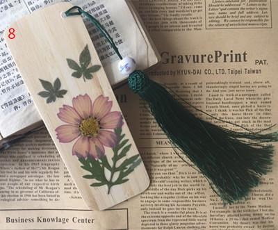 Free shipping Dried flowers bamboo bookmark with tassels unique natural real flower original design as gifts memorial