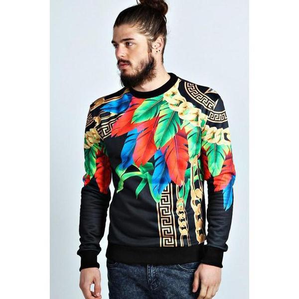 FG1509 3D Mall Autumn 2014 Paris Top Design Colorful Feathers Leaves Golden Chains Medusa Cool Men's Slim Pattern Sweatshirt Hoodies
