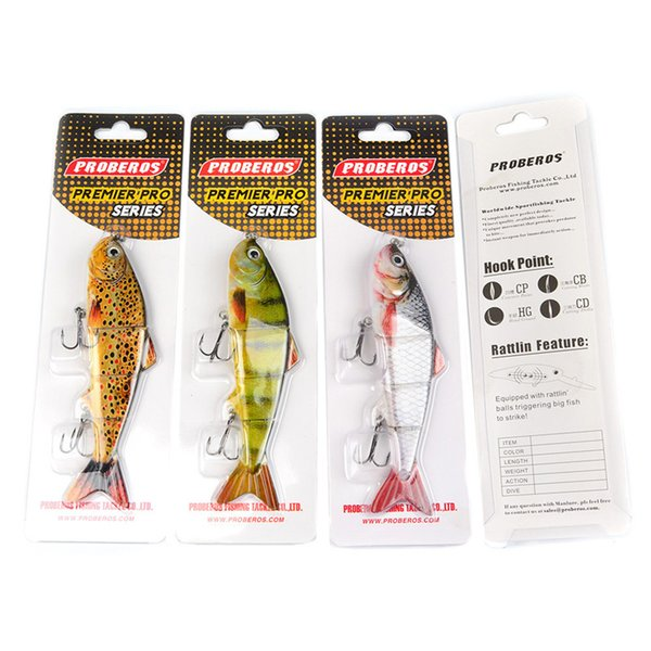 "4 Sections Fishing Lure 12.3cm-4.9""/0.605oz-17.16g Segments Swimbait Crankbait Bright Colors FishLure Laser Artificial Bait with Hooks"