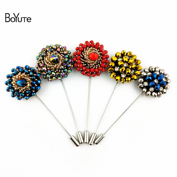 BoYuTe 5Pcs Hand Made Sewing Beads Brooch Fashion Design Men Wedding Boutonniere Lapel Pin for Suits 21 Colors Jewelry