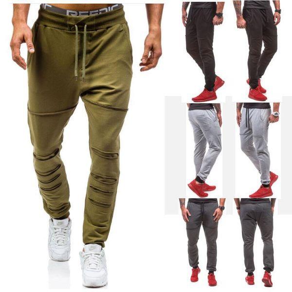 top popular Hole jogger 2017 Men Gyms Pants Casual Elastic cotton Mens Fitness Workout Pants skinny,Sweatpants Trousers Jogger Pants 2019