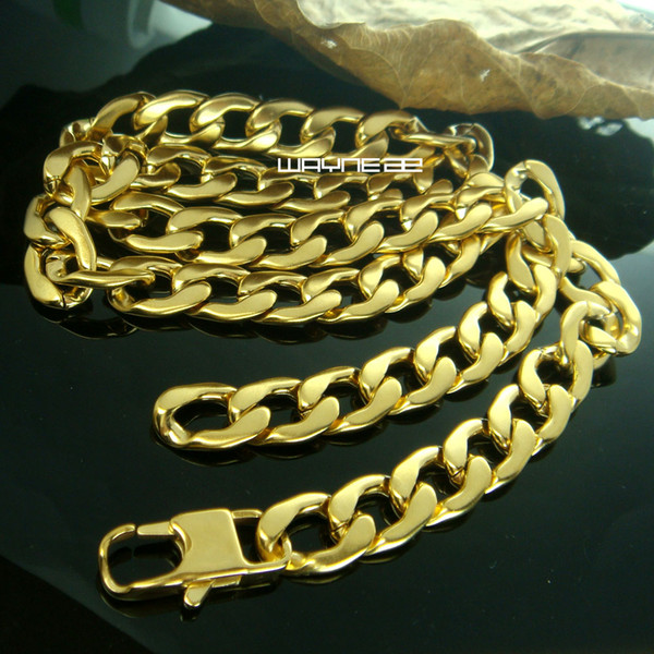 316L stainless steel gold Filled mens chain necklace in 50cm 60cm 70cm Length 11mm width N293