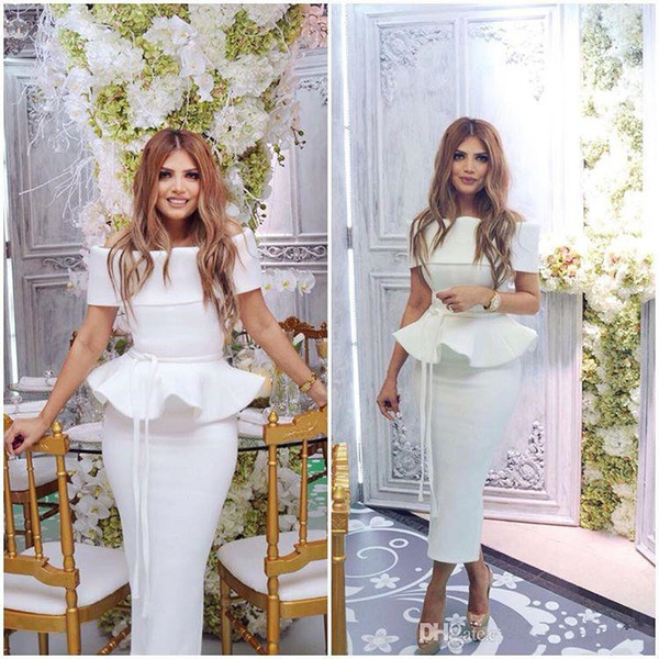 white chic arabic evening dresses bateau sheath tea length ruffles peplum satin prom cocktail dresses formal party gowns