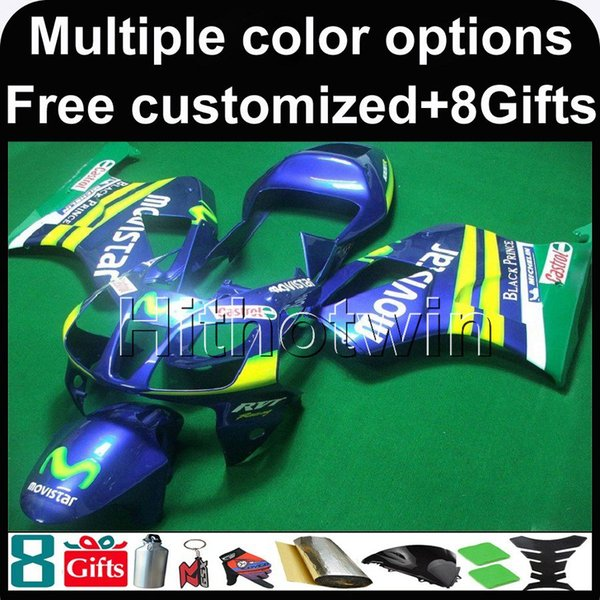 23colors+8Gifts silver black motorcycle cowl for HONDA RC51 VTR1000SP1 00 06 ABS Plastic Fairing