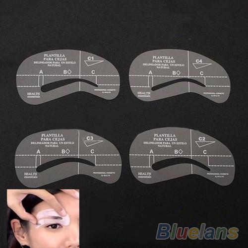 8pcs / set Styles Toilettage Stencil Kit Make Up MakeUp Façonner DIY Beauté Sourcils Modèle Pochoirs Outils Accessoires 1OL2