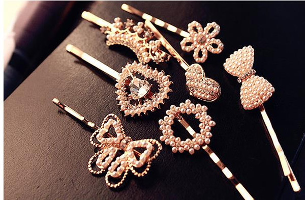 best selling New Women Pearl Alloy Hair Clips Rhinestone Bow Floral Heart Crown Hair Pin Girl's Fashion Hair Accessories