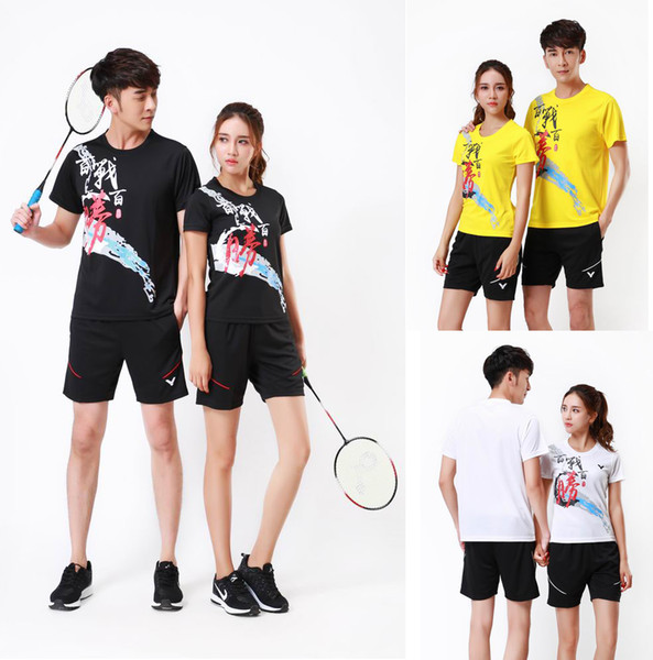 NEW Victor competition badminton shirt clothes,men/women table tennis jerseys quick dry,lovers ping pong/tennis t-shirt +shorts train suit