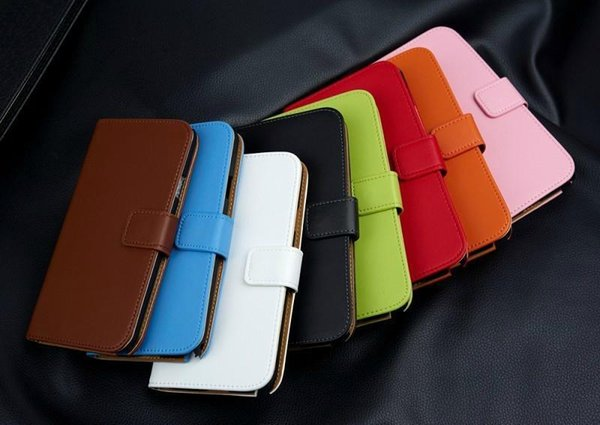 Wallet Credit Card Flip Folio Stand Genuine Leather Case Cover Holster for Samsung GalaxyS5 S6 Note 3 4 5 Note3 N9000+1Pcs protection film