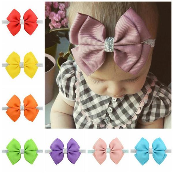 Neue 20 Farbe Baby Stirnbänder Bögen Kinder Band glitter Elastische Stirnbänder für Mädchen Kinder Haarschmuck Doppel Bowknot Haarband B11