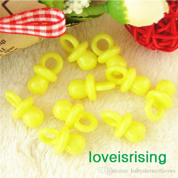 New Arrivals--200pcs 22mm*11mm Mini Acrylic Solid Yellow Baby Pacifier Baby Shower Favors~Cute Charms ~cupcake decorating