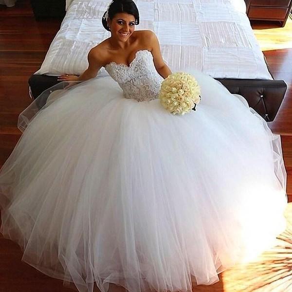 Plus Size Ballkleid Brautkleider Schatz Zurück Korsett Vestidos de Novia Made In China Romantische Spitze Modest Brautkleider