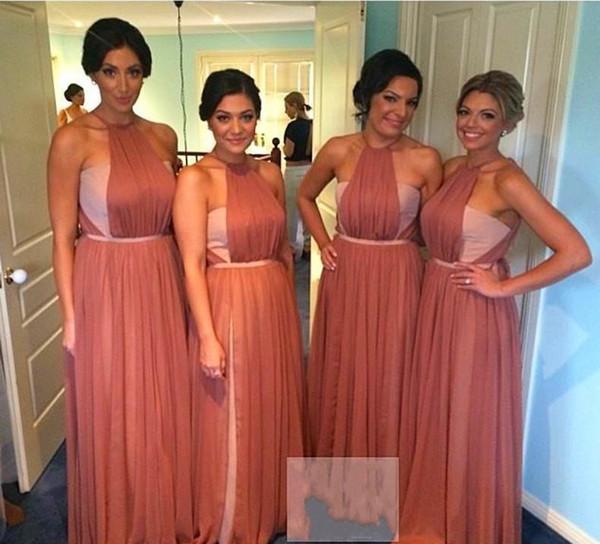 Two Tone Chiffon Long Bridesmaid Dresses 2015 Crew A-Line Zipper ...