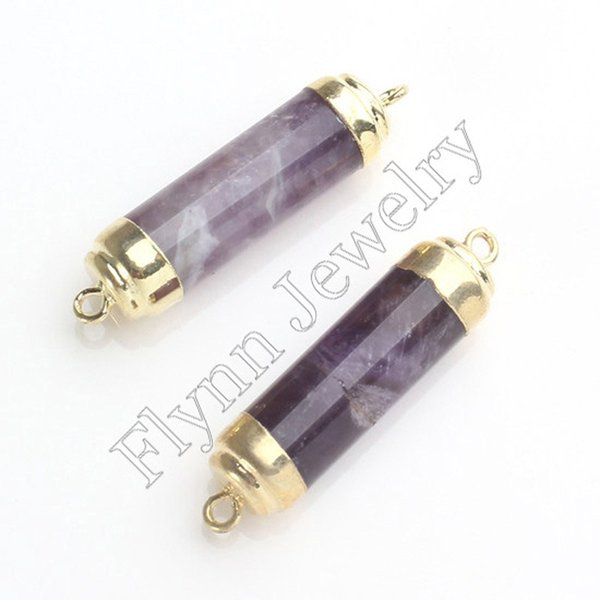 Gold Plated Double Hook Natural Stone Cylinder Druzy Connector DIY Jewelry Making Amethyst Opal Rock Crystal Tigerite 10pcs
