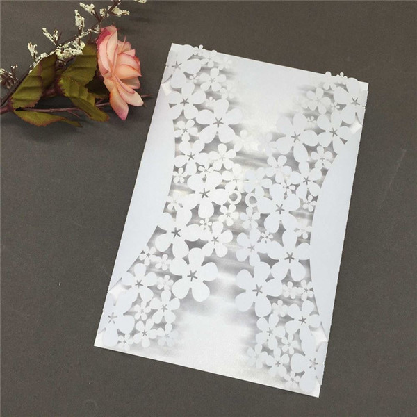 10 pcs elegant carved flower snowflake invitation cards for birthday wedding banquet romantic new year party