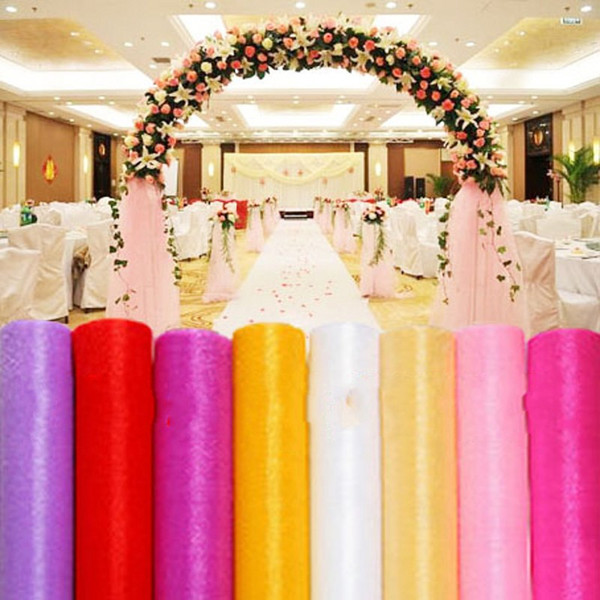 12 Colors Fashion Ribbon Roll Organza Tulle Yarn Chair Covers Accessories For Wedding Backdrop Curtain Decorations Supplies 50m/roll