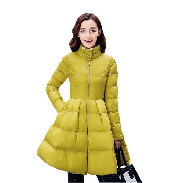 Neue Arrivel Koreanische Frauen Wintermäntel 2015 Mode Großen Rock Schaukel Daunenjacke Mäntel Winter Warme Frau Lange Dünne Mantel Baumwolle Gefütterte mantel