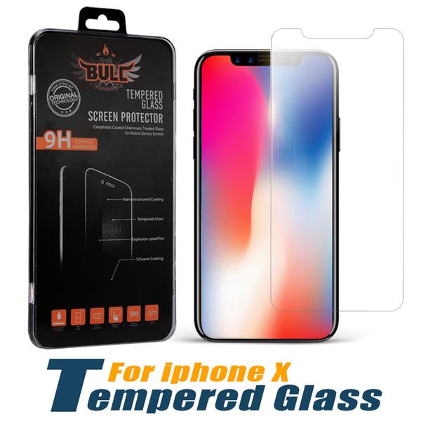 Für neue iPhone X-Displayschutzfolie 9H Härte Premium-Qualität gehärtetes Glas für LG Stylo 3 iPhone 7 6 Plus mit Kleinpaket