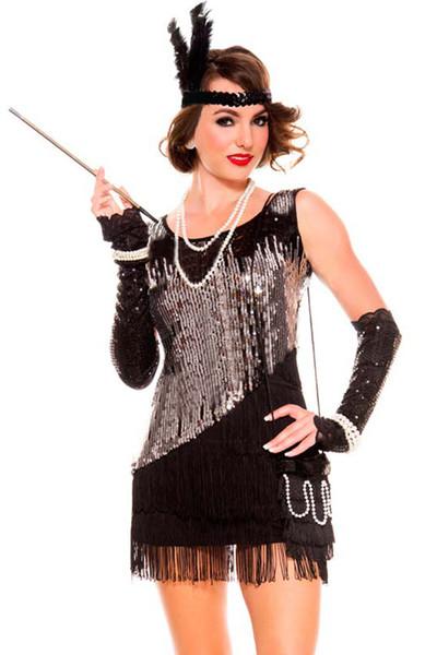 Sexy Prata Preta Que Bling Lantejoula Borla Franja Vestido de Mulheres de 1920 Flapper Traje E8819 Fantasia Festa de Halloween Trajes Cosplay + Headwear