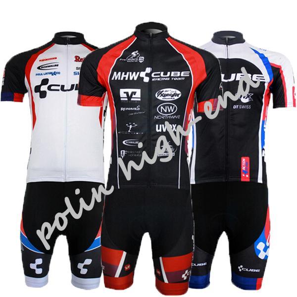 Atacado-Men's CUBE Equipe de ciclismo jersey / bicicleta roupas / ciclismo jerseys de manga curta Roupas De Ciclismo Mtb Homens Sportwear gel pad