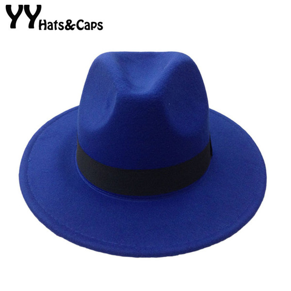 Cappello da uomo a scatto in feltro di lana Trilby Donna Lana vintage Panama Fedora Cappello a cloche di lana in feltro Cappelli da jazz 14 colori YY0397