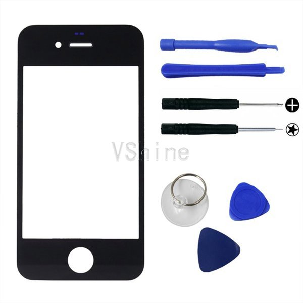 Wholesale-Top Quality Black For Apple iPhone 4 4S 4G Front Glass Screen Replacement Outer Lens For Lcd Screen Digitizer Tools