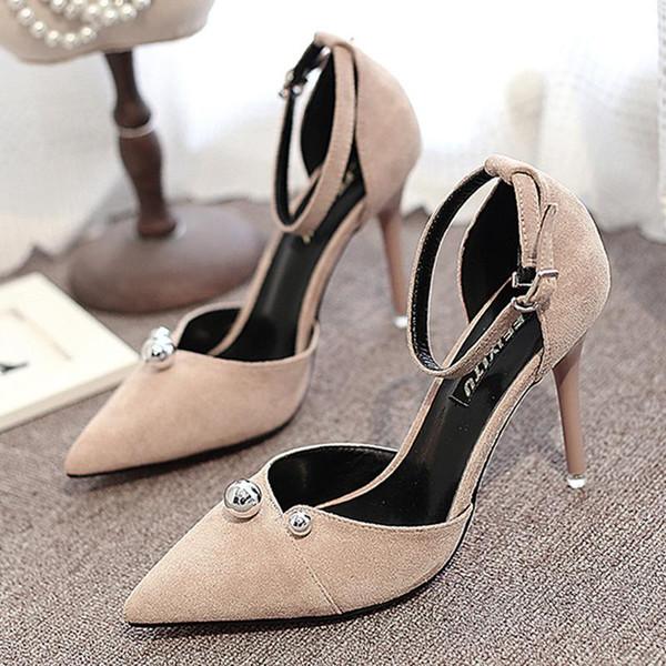 Kadın ayakkabı ile 2017 yeni Baotou ince moda ayakkabılar süet sığ ağız kelime toka vahşi yüksek topuklu