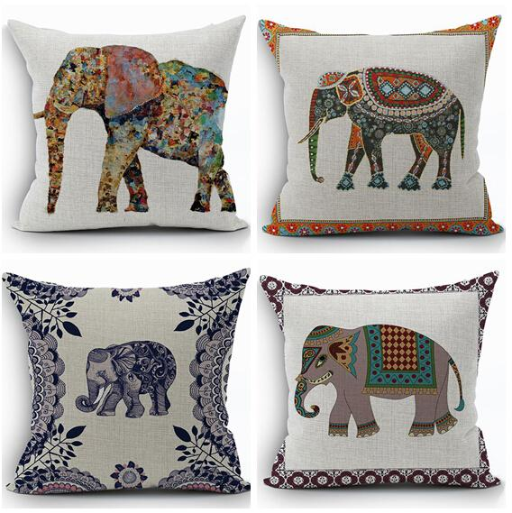 Ethnic Animal Cushion Cover Cotton Linen Elephant Throw Pillow