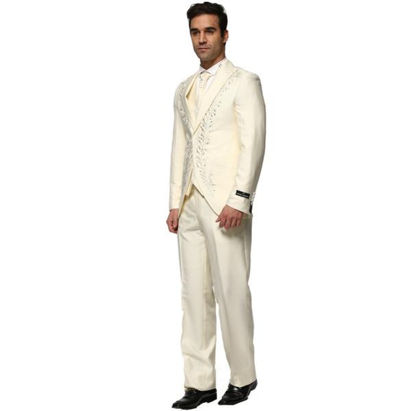 (Veste + Pantalon + Gilet + Carré + Cravate) 2016 Nouvelle Mode Hommes Costume Costume Business Strass Haute Qualité Costume De Mariage Homme GS005