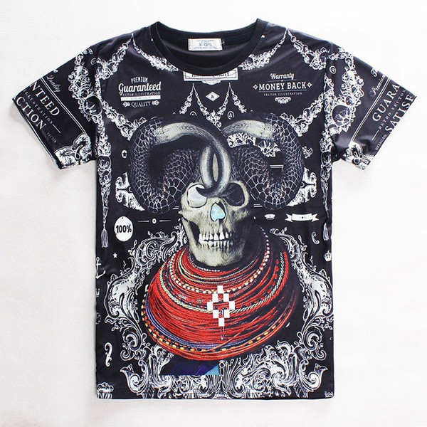 FG1509 2015 New Arrivals Women/Men Summer Printed sheep necklace 3d skull head T shirt Cool Top Fashion Novelty Tee Free Shipping