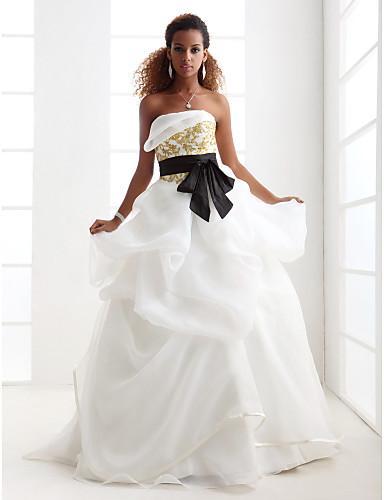 2016 New Hot Fashion Free Shipping Elegant Ball Gown Ivory Sweep/Brush Train Strapless Godl Appliques Sash Satin/Organza Wedding Dresses 222