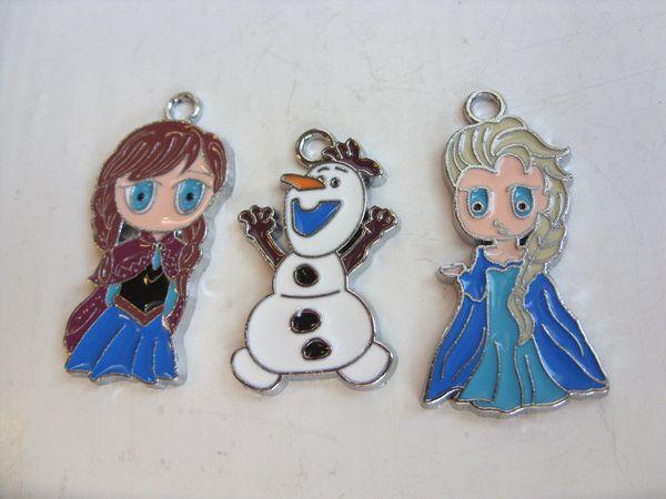 Frozen Anna Elsa Olaf Charms Pendentifs émail métal