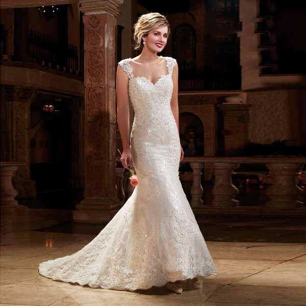 Best Seller Sweetheart with Beading Chapel Train Organza Mermaid Wedding Dresses 2016 Lace Appliques