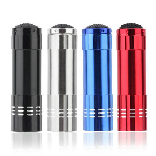Mini Aluminium Portable UV Ultra Violet 9 LED lampe de poche 365nm UV lampe de poche lampe torche lampe de poche pour extérieur