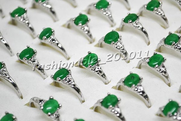 best selling Top Quality Elegant Natural Green Agate Silver P Fashion Mix Size Rings Jewelry