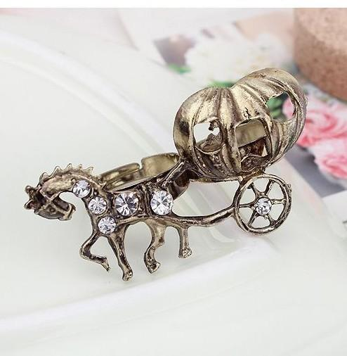 Min.order is $15 (mix order)-European And American Fashion Personality Retro Pumpkin Carriage Opening Ring Factory Direct-j204