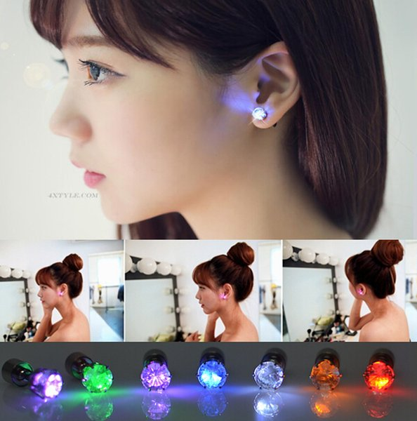 top popular Novelty LED Flashing Light Stainless Steel Rhinestone Ear Stud Earrings Fashion Jewelry rave toys gift 9 Colors LED Earrings for Christmas 2019