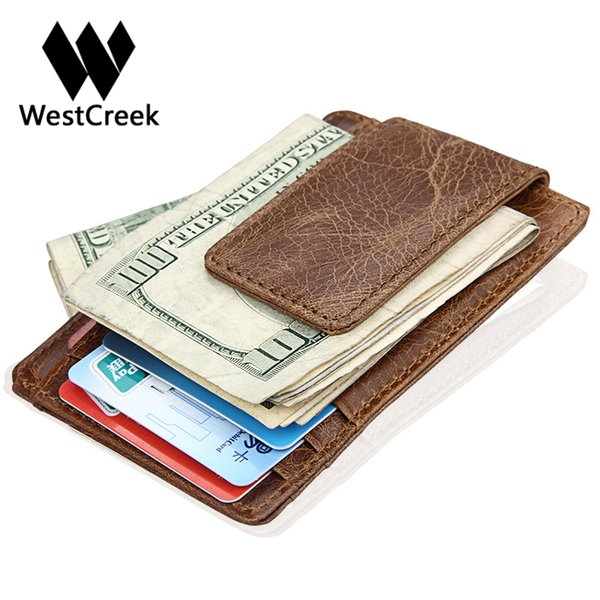 Westcreek Brand Genuine Leather Men Fashion Thin Magnetic Money Clip Vintage Travel Wallets Business Card Case Coin Pocket
