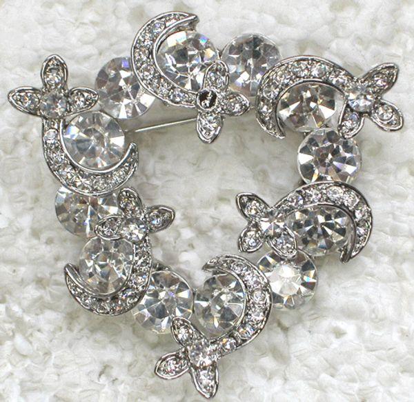 Wholesale Crystal Rhinestone Bridesmaid Girl Wedding party Flower Pin Brooch Fashion costume jewelry gift C765