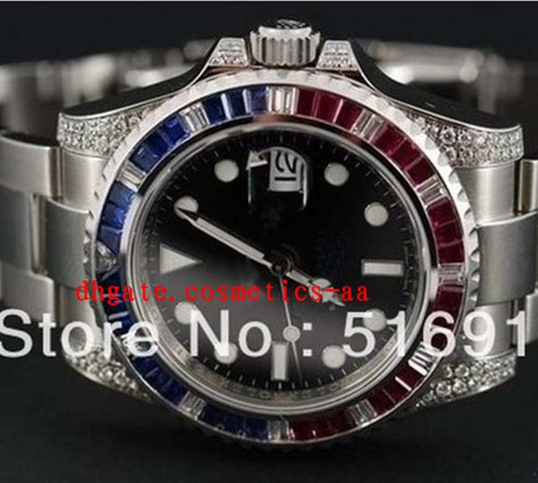 Luxury Watches MENS ll WATCH MEN PAVE BLUE RED DIAMOND BEZEL LUGS WATCHES SPORTS Dive High Quality Watches