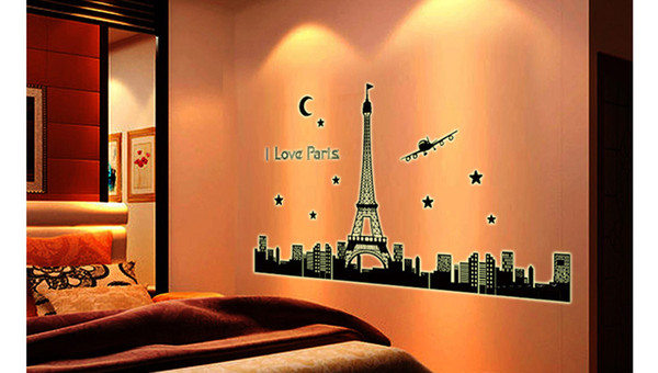 Paris Tower Night Glow Stickers Background Wall Stickers Bedroom Living  Room Decoration Wall Posters Eiffel Tower