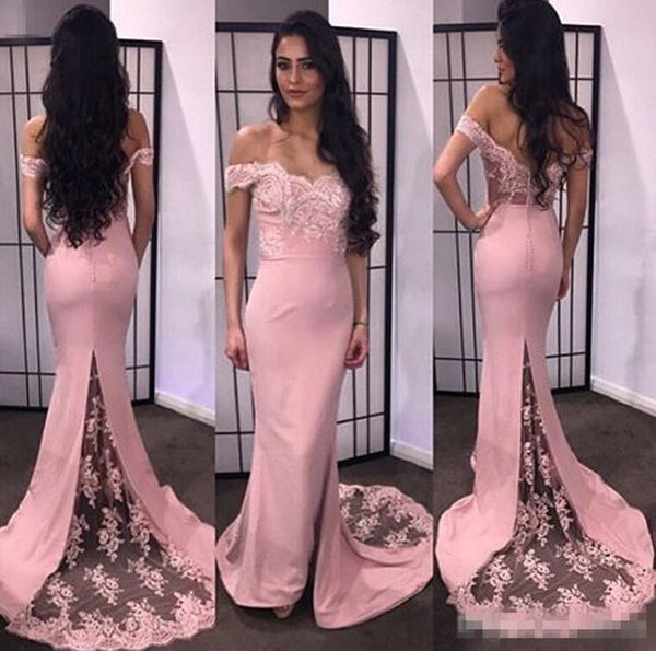 Sexy 2016 Hot Sale Prom Dresses Mermaid Lace Applique Off The Shouder Sleeveless Sheer Button Back Sweep Train 2017 Pageant Evening Gowns
