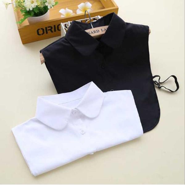 Wholesale- 2017 Korean Style Fake Collar White & Black Nep Kraagje Blouse Vintage Detachable Collar Jeans for Women Men Clothes Accessories