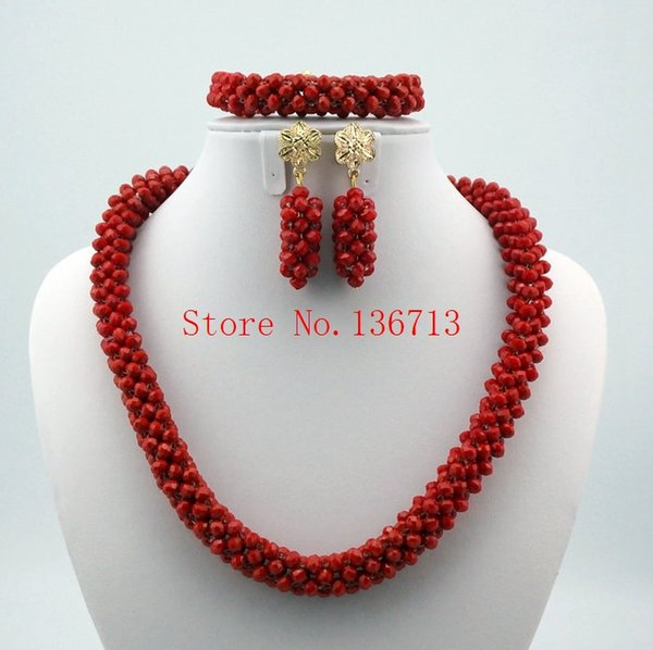 2016 Fashionable African Wedding Jewelry Set Coral Beads Jewelry Set Nigerian Beads Necklace Jewelry Set Free Shipping ST102-6