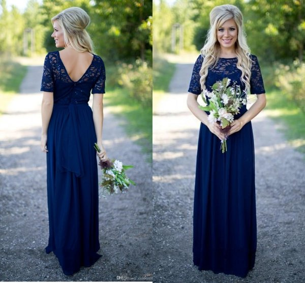 2018 Country Bridesmaid Dresses Hot Long For Weddings Navy Blue Chiffon Short Sleeves Illusion Lace Beads Floor Length Maid Honor Gowns