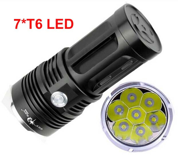 free Epacket, SkyRay 7x XM-L T6 LED 3Mode Hunting Flashlight 10000 Lumens Flash Light Lantern 7T6 LED Torch by 4pcs 18650 Battery