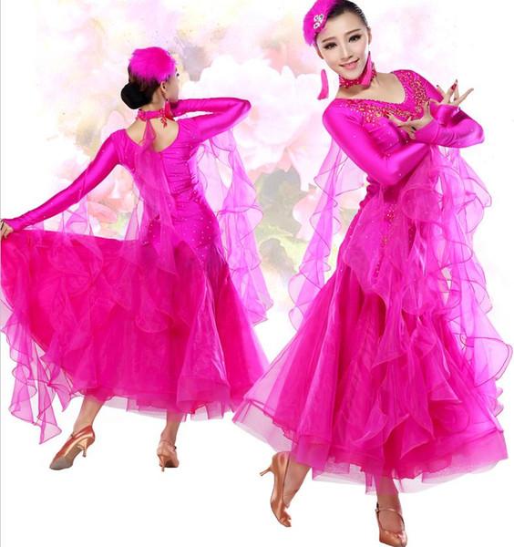 Women Ballroom Dance Dress 2016 New Lady Clothing For Tangowaltz Ballroom Dancing Dresses Competition Modern Dance Skirt FN019-10