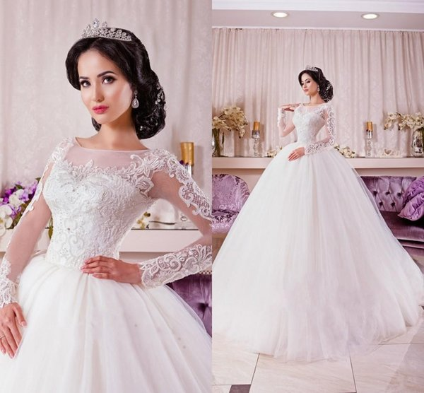 Discount New Arrival 2016 Spring Illusion Long Sleeves Ball Gown ...