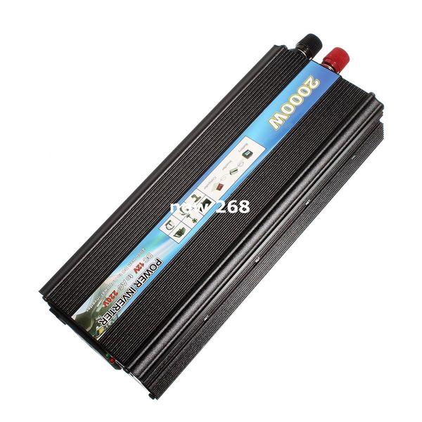 HOT-A1-00017 para Peak Output 2000W Car Vehicle USB DC 12V a AC 220V Convertidor de adaptador de corriente convertidor - Negro